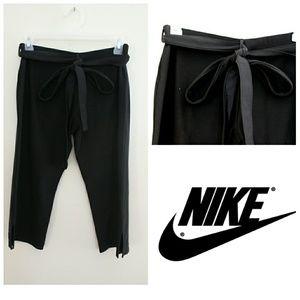 Nike Dri-Fit Black Belted Tie Waist Cropped Pants